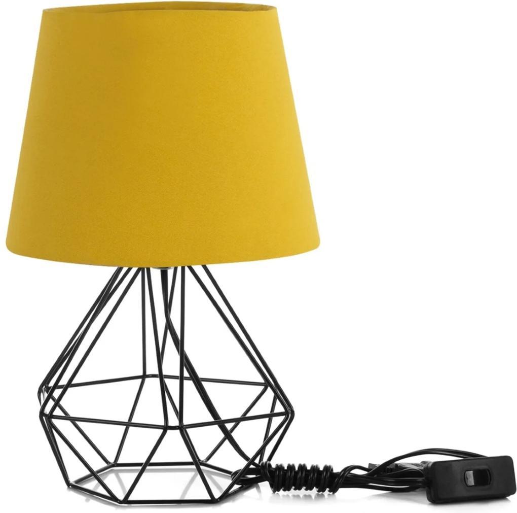 Abajur Diamante Dome Amarelo Mostarda Com Aramado Preto