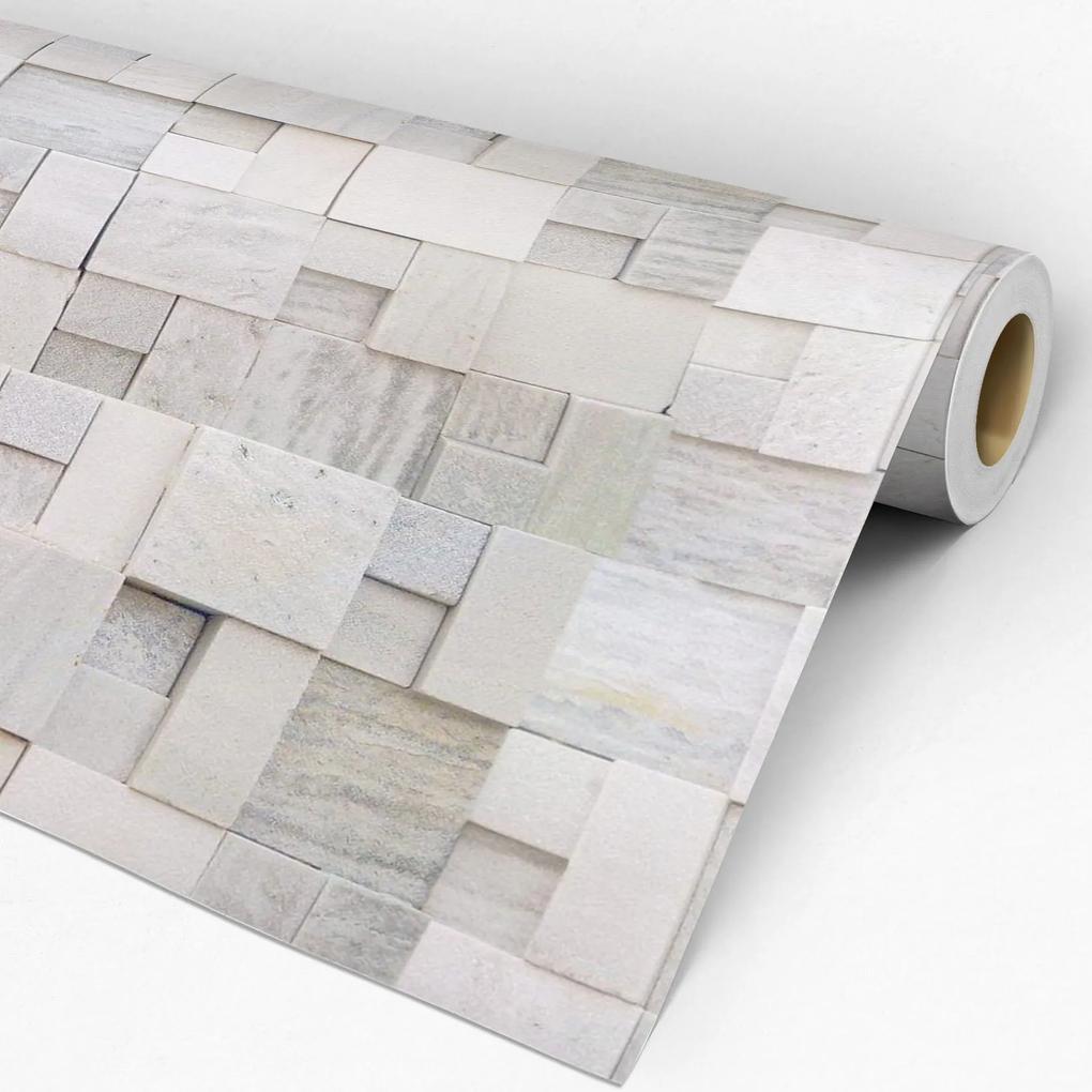 Papel de parede adesivo pedra irregular branca
