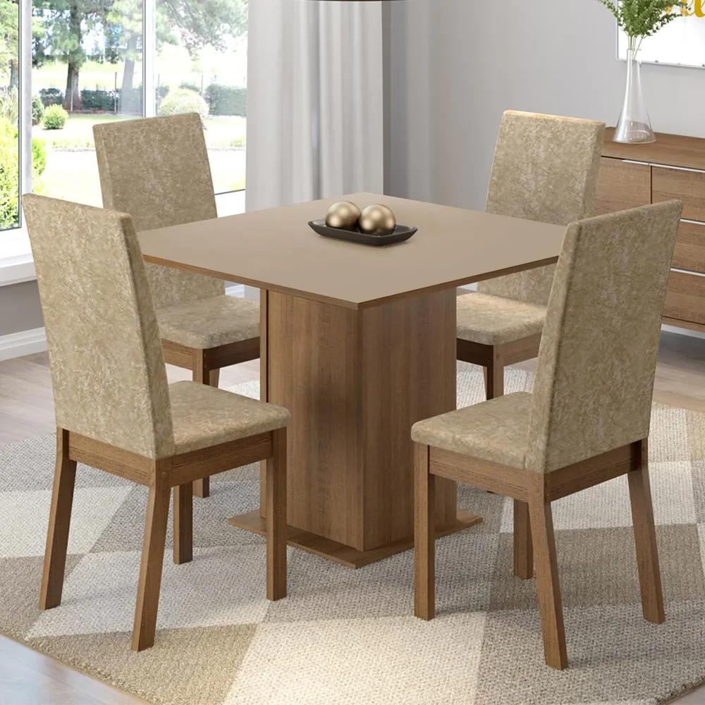 Conjunto Sala de Jantar Madesa Madri Mesa Tampo de Madeira com 4 Cadeiras Rustic/Crema/Imperial Cor:Rustic/Crema/Imperial