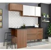 Cozinha Modulada Calabria Nogueira Branco 04 Pecas Multimoveis