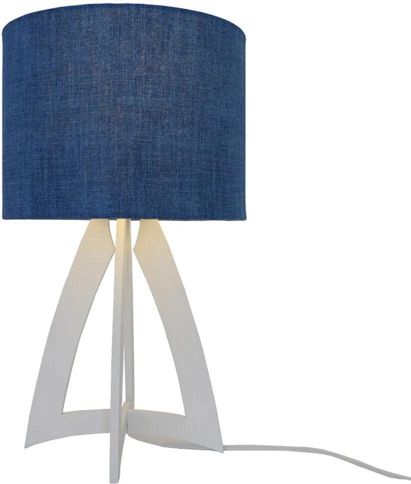 Abajur Base Madeira e Cúpula Jeans Crie Casa Azul e Branco