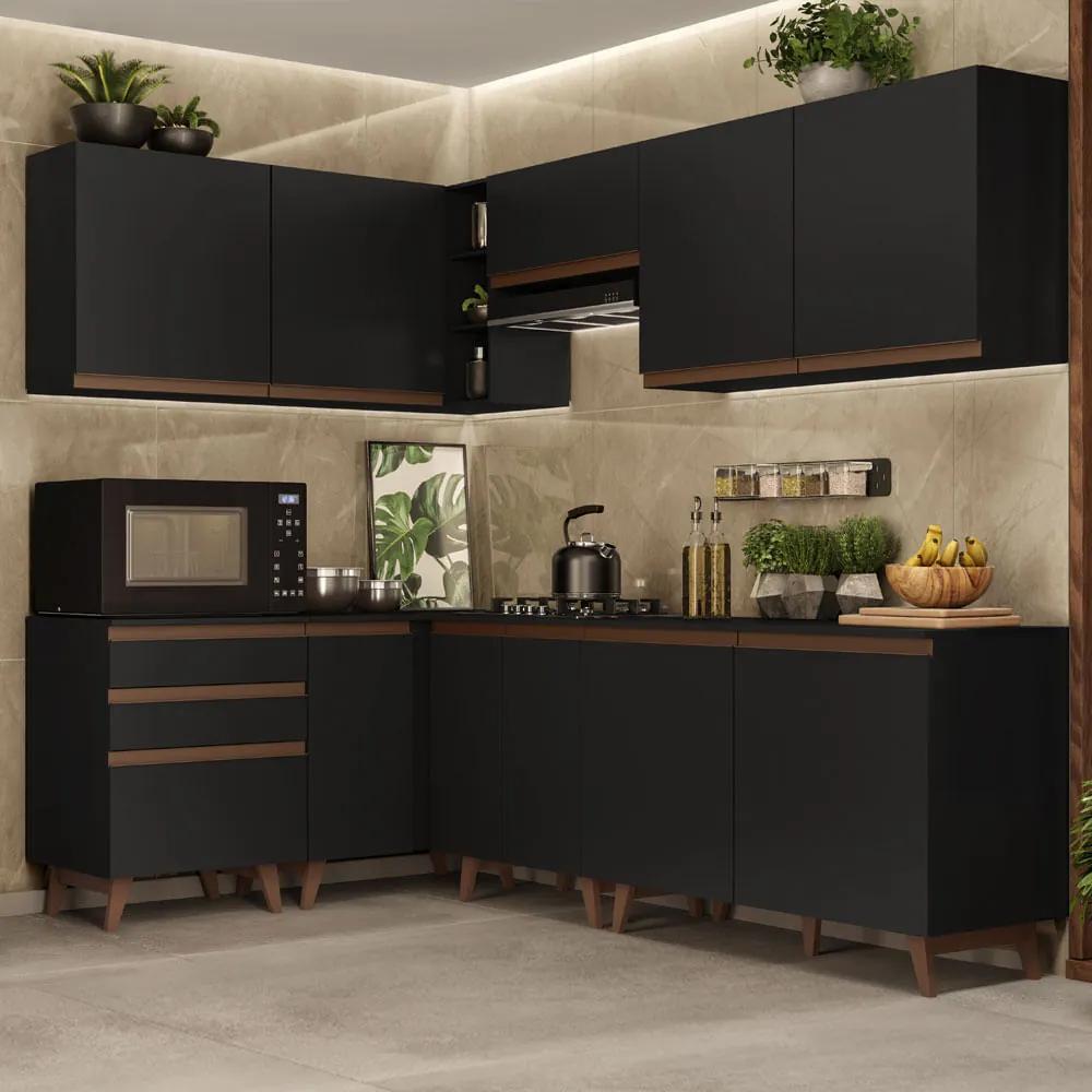 Cozinha Completa de Canto Madesa Reims 392002 com Armário e Balcão Preto Cor:Preto