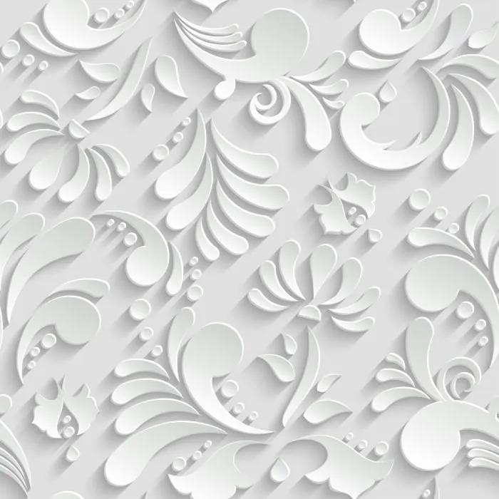 Papel De Parede Adesivo Floral Branco 3D (0,58m x 2,50m)