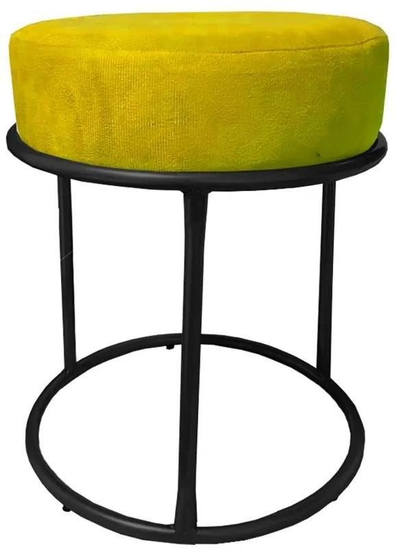 Puff Redondo Decorativo Luxe Base de Aço Preta Suede Amarelo - Sheep Estofados - Amarelo