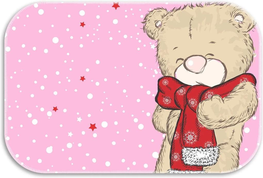 Tapete Decorativo Lar Doce Lar Ursinho de Natal 40cm X 60cm Rosa