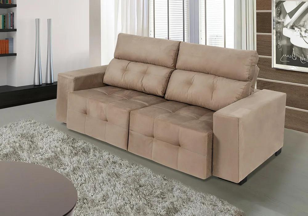 Sofa Firence 2,30 Mts Retrátil E Reclinável Tecido Suede Castor - Moveis Marfim