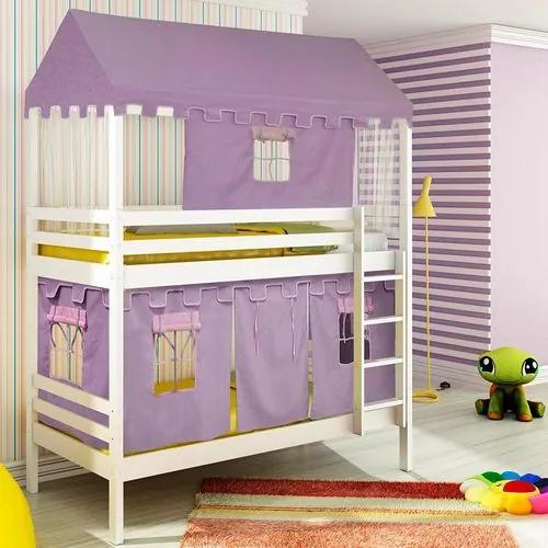 Beliche infantil Teen Play c/ Telhado Completo e Tenda Castelo Lilás - Branco Lavado - Casatema