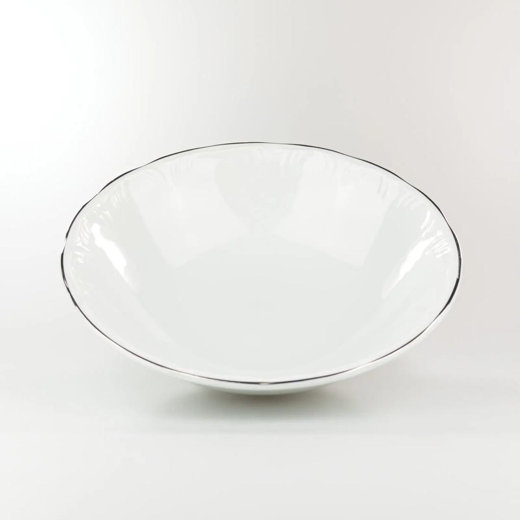 Saladeira 24 cm Porcelana Schmidt - Dec. Filetado Prata Pomerode
