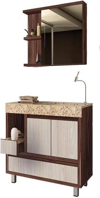 Conjunto de Banheiro Gaam Onix, Ameixa e Grigio, 80 cm