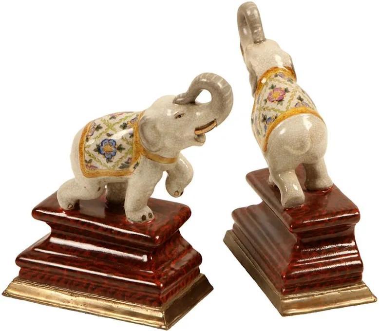 Aparador de Livros de Porcelana Elephant 2 peças