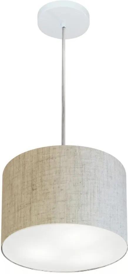 Lustre Pendente Cilíndrico Md-4209 Cúpula em Tecido 25x25cm Rustico Bege - Bivolt