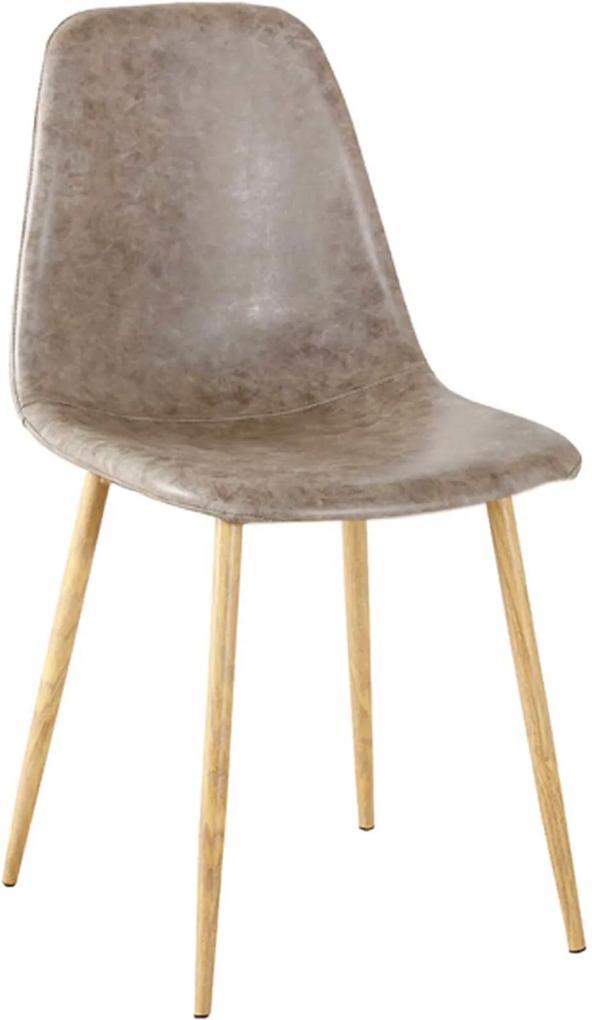 Cadeira Tania Pu Cinza Vintage Base Clara Rivatti