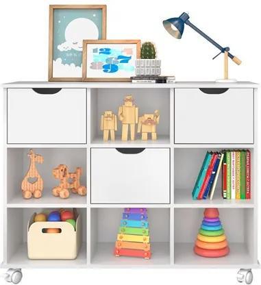 Nicho Organizador com Rodízios Toys 3 Gavetas Branco - Mpozenato