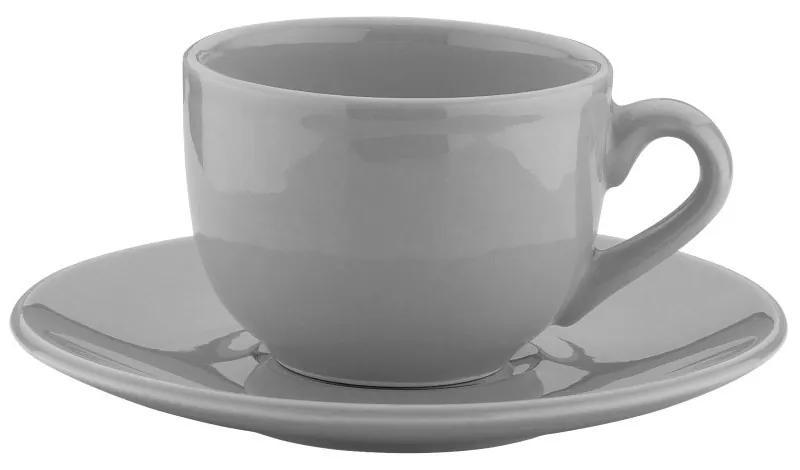 Jogo Xícaras Chá Carâmica Com Pires 6 Peças Alanya Ash 275ml 17511 Wolff