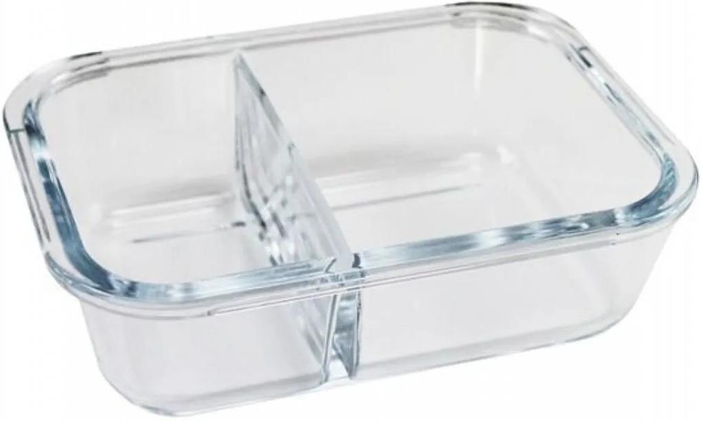 Pote de Vidro Hermético com 2 Divisórias 600ml Branco