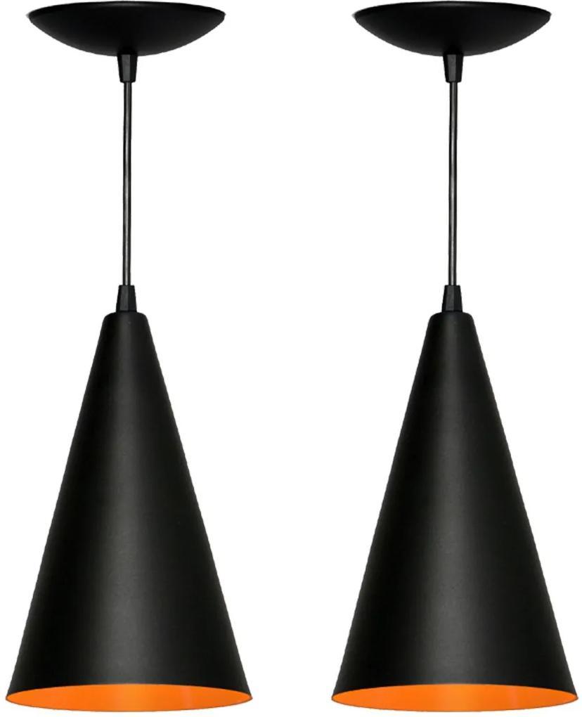 Kit 2 Pendentes Cone (preto Textura/ Laranja)