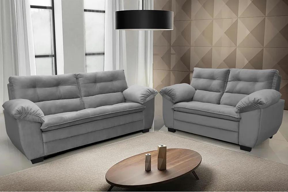 Conjunto De Sofá Macio Com Fibra Premium 3 E 2 Lugares Tecido Suede Cinza