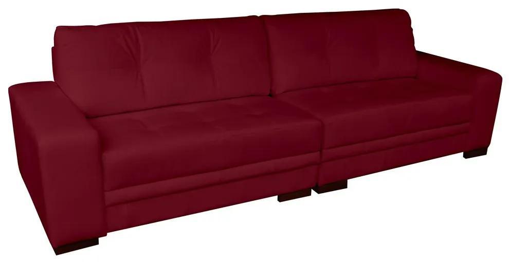 Sofá 3 Lugares Bipartido Sala de Estar Milano 240cm Couro Vermelho - Gran Belo