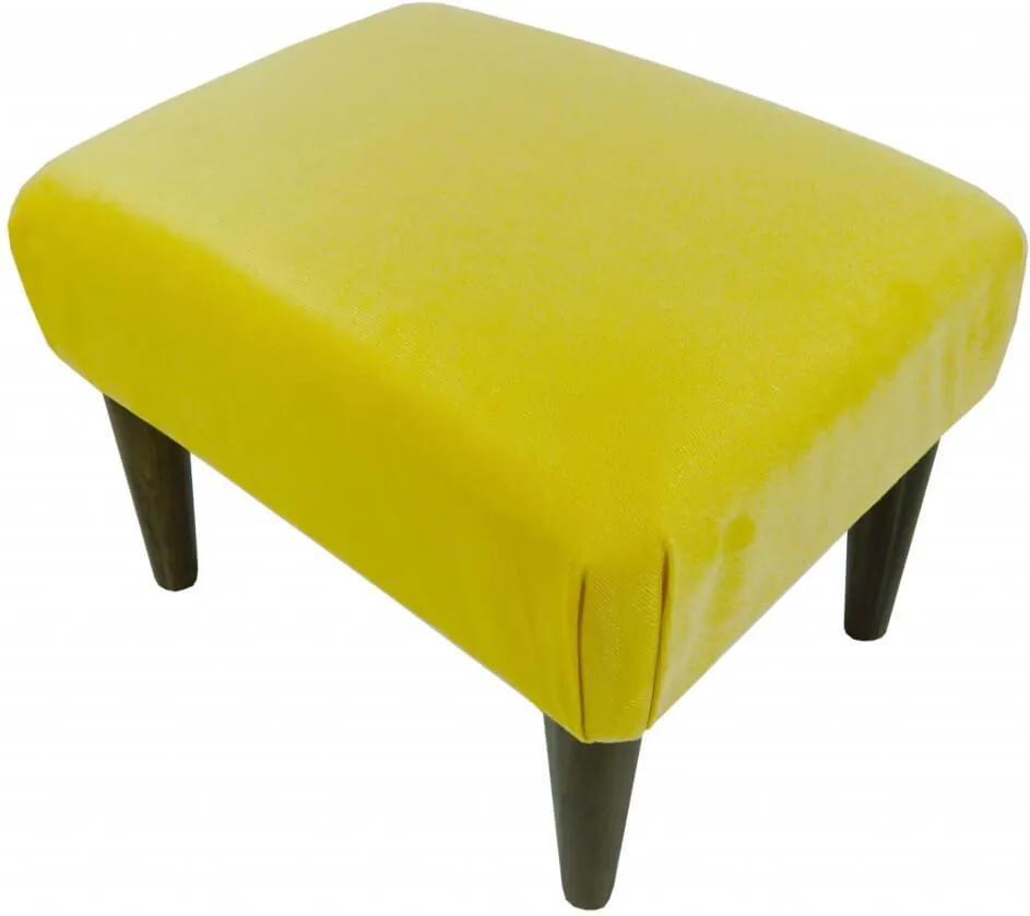 Banqueta Decorativa Retangular Amarela em Suede Liso com Pés Palito
