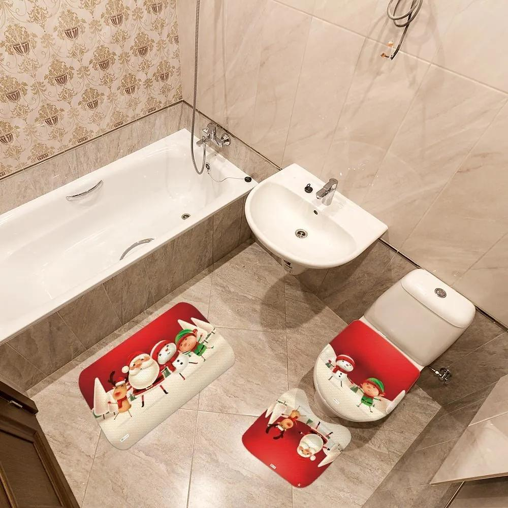 Jogo de Banheiro Natal Papai Noel VermelhoÚnico