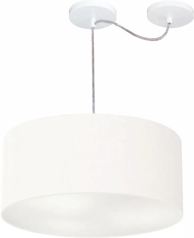 Lustre Cilíndrico C/ Desvio De Centro Md-4151 Cúpula em Tecido 50x25cm Branco - Bivolt