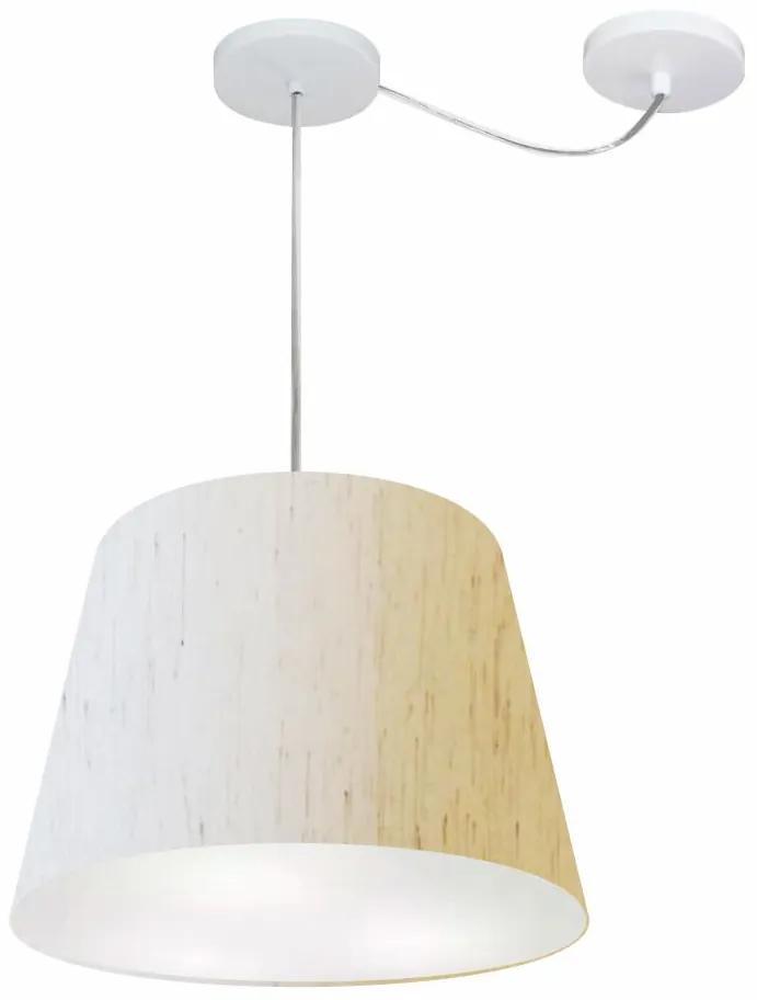 Lustre Pendente Cone Com Desvio Md-4280 CúpulaTec 30/30x40cm Linho Bege - Bivolt