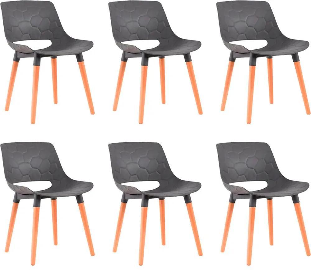 Kit 6 Cadeiras Decorativas Para Salas e Cozinhas LivClean (PP) Cinza - Gran Belo