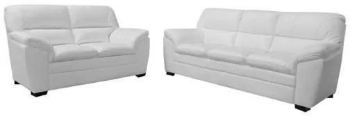 Conjunto Sofá de Couro Connor 3 e 2 Lugares - Branco - Mempra