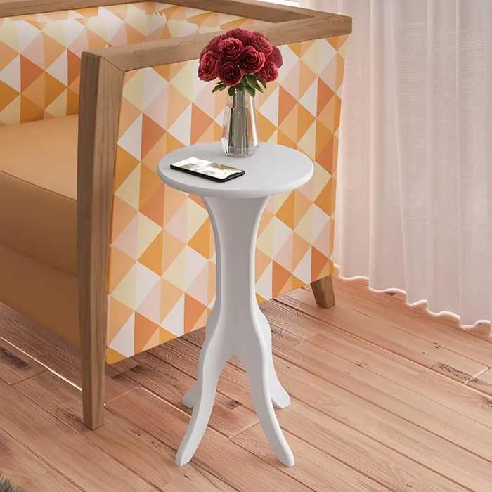 Mesa de Canto Glinde 100% MDF 30cm Branco