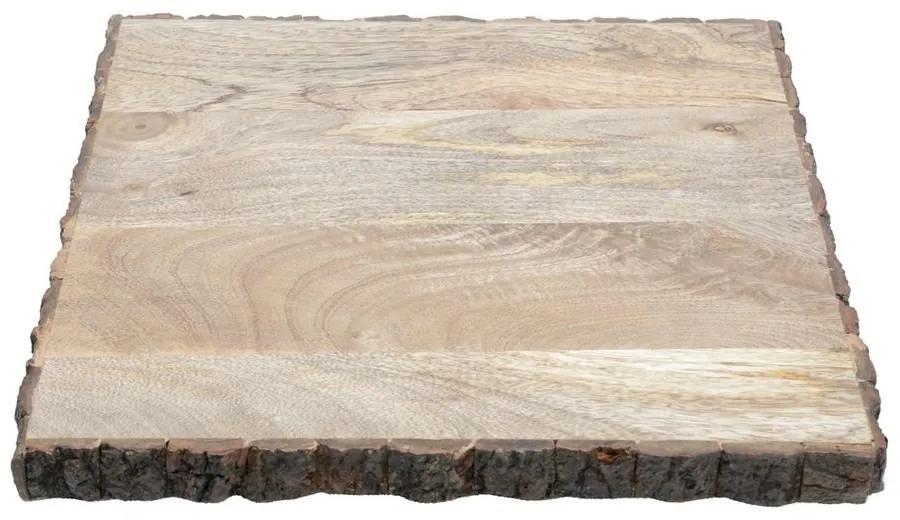 Bandeja Quadrada De Madeira Com Suporte Para Servir 32x32x8cm 27488 Woodart