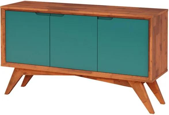 Buffet Serafim 3 Portas Natural e Turquesa - Wood Prime MP 27624