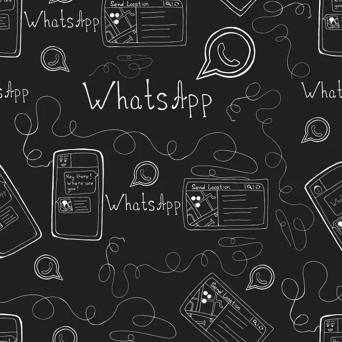 Papel De Parede Adesivo Whatsapp Preto (0,58m x 2,85m)