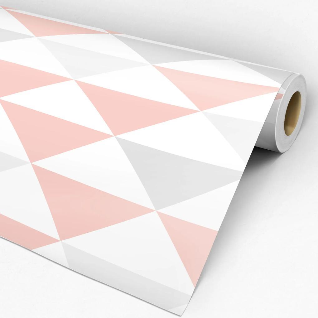 Adesivo geométrico triângulo rose cinza e branco