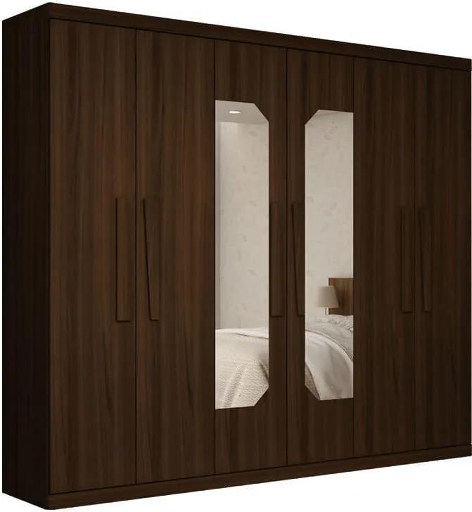 Guarda Roupa Casal 6 Portas Com Espelho Infinity Gelius Nogueira