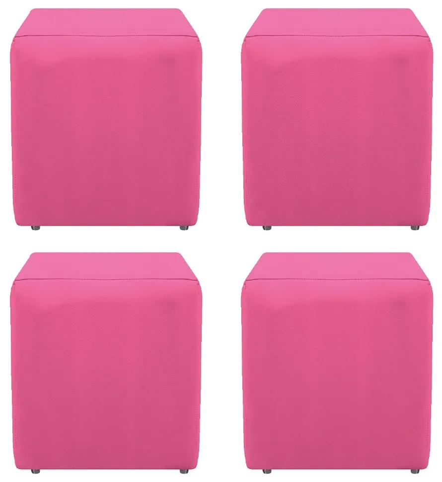 Kit 04 Puffs Decorativos Dado Corano Pink - ADJ DECOR