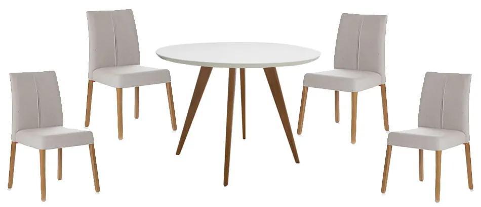 Conjunto Mesa Square Redonda Branco Fosco 80cm + 4 Cadeiras Zaar Bege