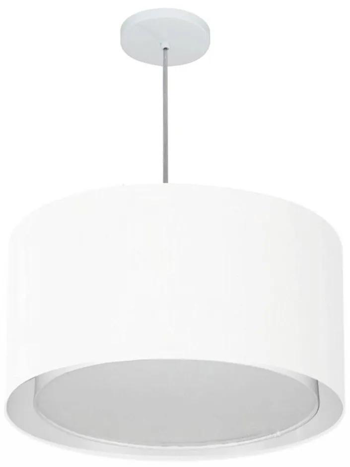 Lustre Pendente Cilíndrico Duplo Vivare Md-4293 Cúpula em Tecido 45x30cm - Bivolt - Branco - 110V/220V (Bivolt)