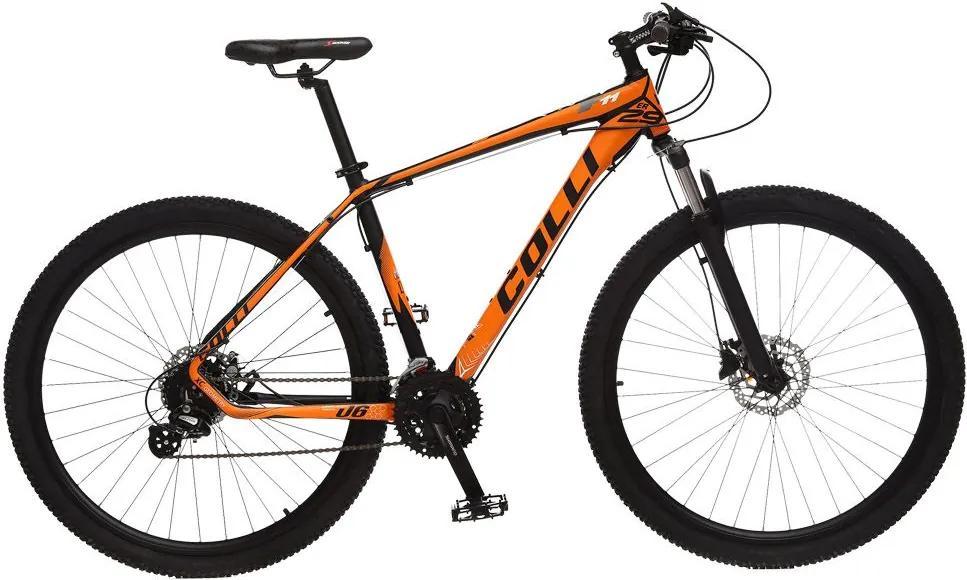 Bicicleta Esportiva Aro 29 Altus Shimano Suspensão Freio a Disco F11 Quadro 18 Alumínio Preto/Laranja - Colli Bike