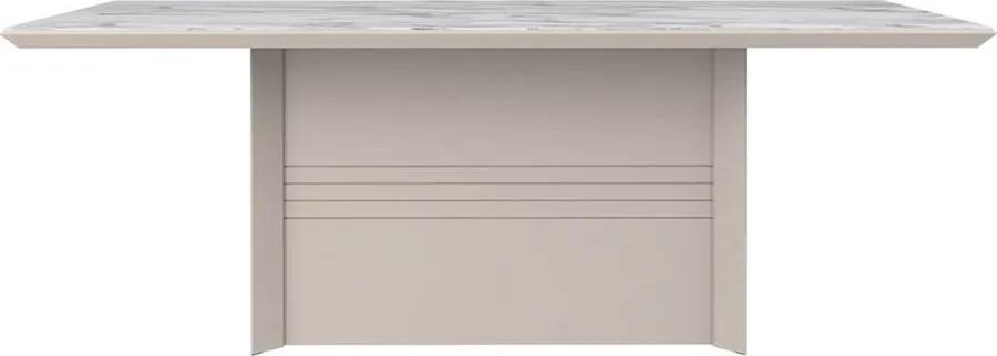 Mesa De Jantar Malon 209cm X 76cm P/ 8 Lugares C/ Vidro Off White /