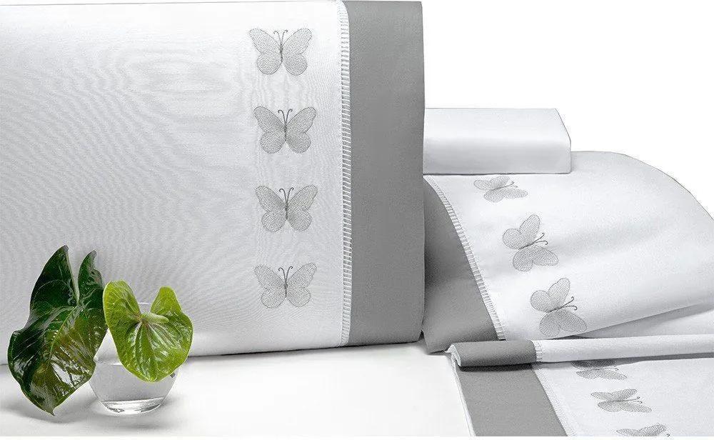 Jogo de Lençol Papillons Queen 04 Peças - Branco