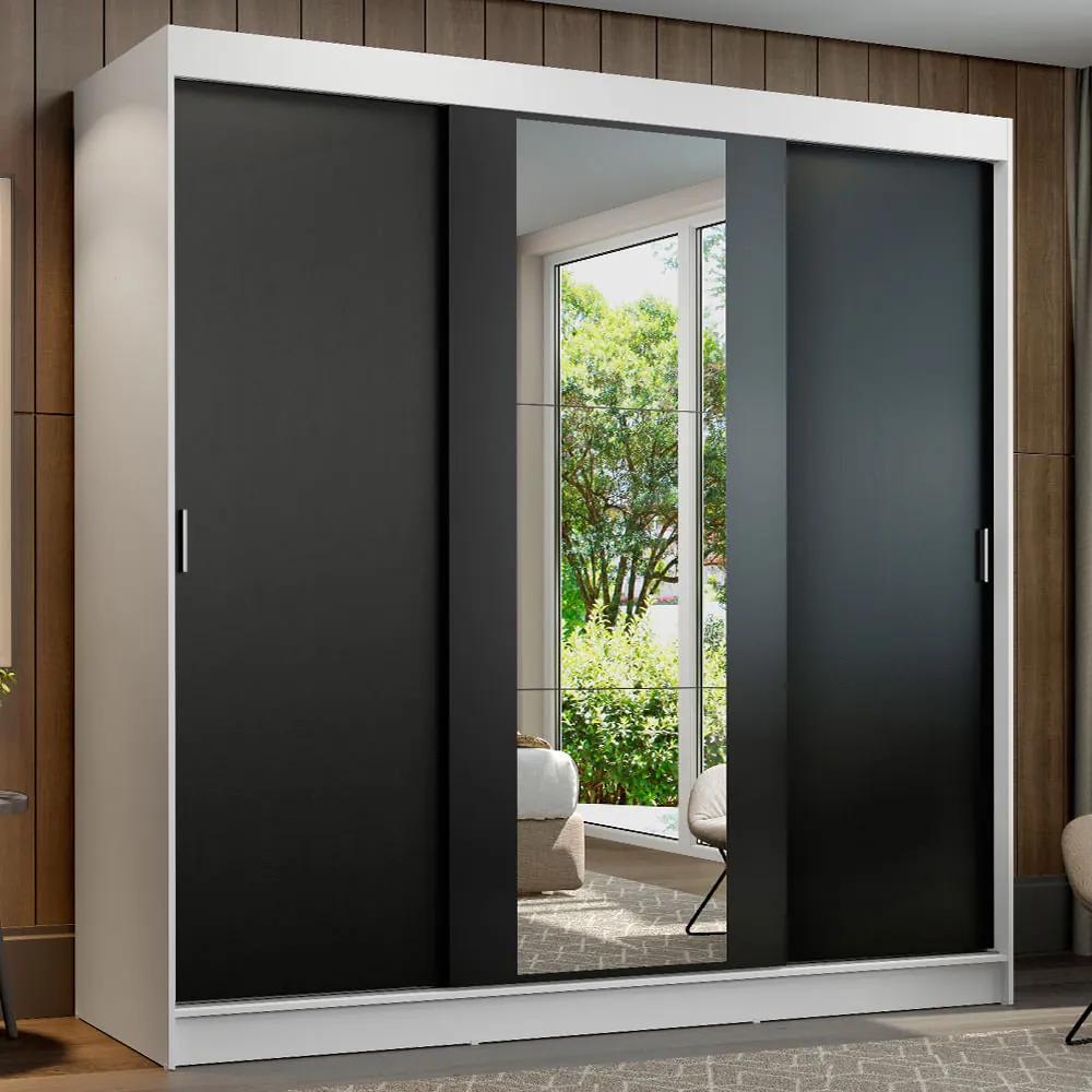 Guarda-Roupa Casal Madesa Reno 3 Portas de Correr com Espelho Branco/Preto Cor:Branco/Preto