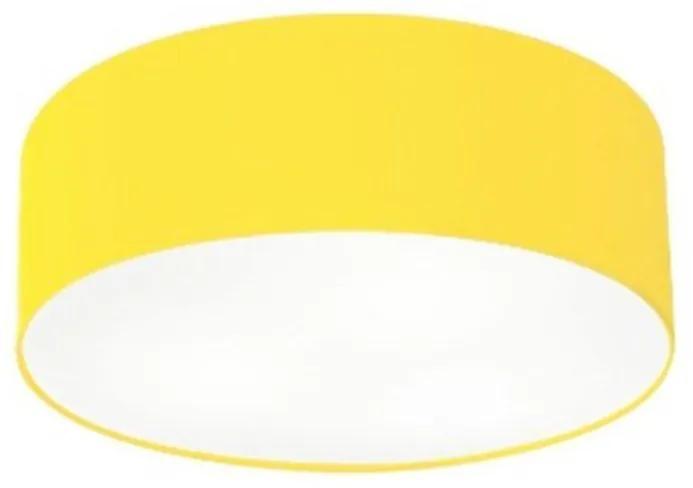 Plafon Cilíndrico Vivare Md-3005 Cúpula em Tecido 40x12cm - Bivolt - Amarelo - 110V/220V (Bivolt)
