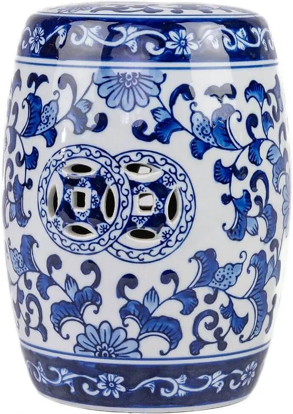 Mini Garden Seat em Porcelana Azul e Branco D16cm x A20cm
