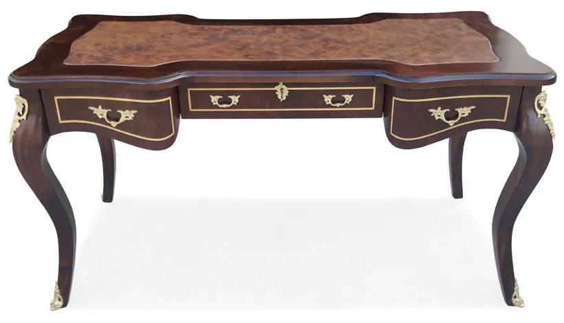 Escrivaninha Papeleira Bengui 3 Gavetas Tampo Couro Natural Madeira Maciça Marchetaria Design Clássico