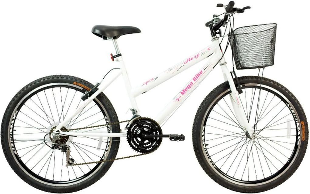 Bicicleta Aro 26 Freio V-Break Quadro Aço Rosy Sport 21v Branco Gold - Mega Bike