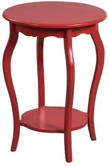 Mesa de Canto Redonda Estilo Clássico 50x50 cm - Vermelho
