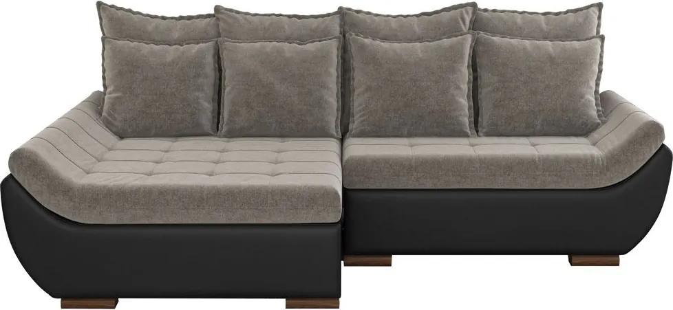 Sofá com Chaise Esquerda 4 Lugares Sala de Estar 287cm Inglês Linho Marrom/Corino Preto - Gran Belo