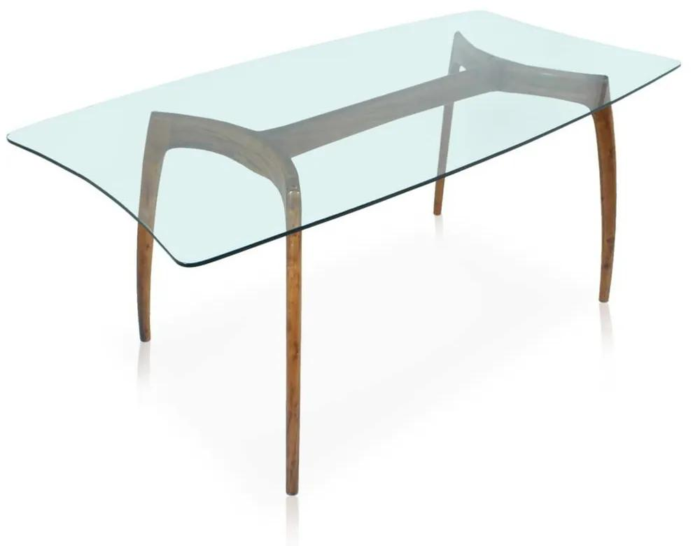 Mesa de Jantar Design 6 Lugares Tampo de Vidro Base Imbuia Design Retrô