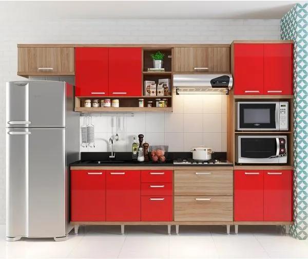 Cozinha Compacta Aéreos, Armário p/ Forno/Micro-ondas, Balcões de Pia/Cooktop - Argila/Laca Vermelho