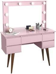 Penteadeira Com Espelho 5 Gavetas Pés Palito Camarim Strass Rosa - Pat